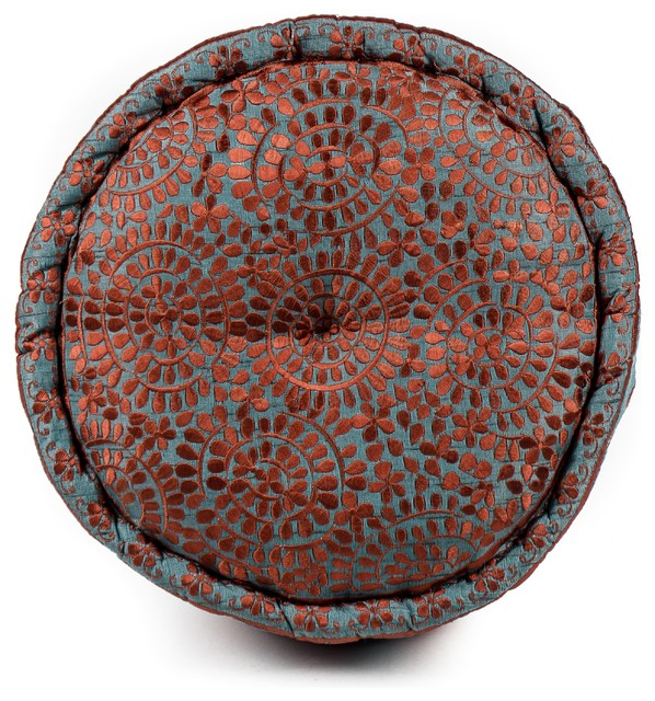 Round Moroccan Silk Pillow, Capri Blue / Rust - Eclectic - Decorative Pillows - by De-cor