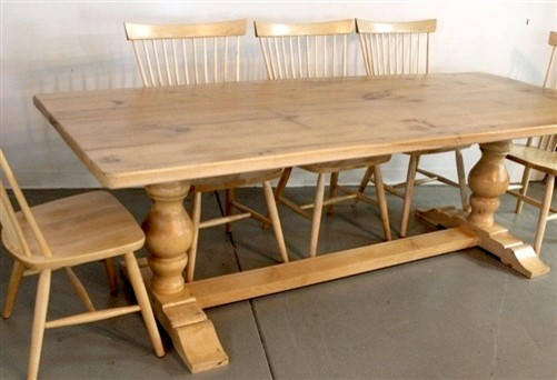 Tuscany Oak Trestle Table Farmhouse Dining Tables boston by ECustomFi