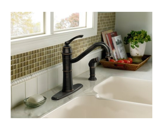 Moen Wetherly Mediterranean bronze one-handle high arc kitchen faucet - Wetherly is a classic, traditionally–inspired design with simplified decorative components and high functionality.
