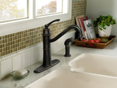 Moen Wetherly Mediterranean bronze one-handle high arc kitchen faucet  kitchen faucets