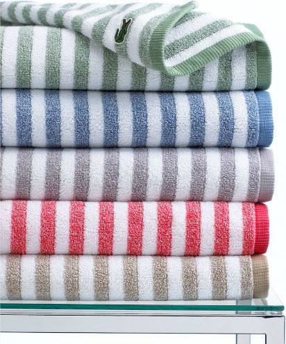 Lacoste Bath Towels Casual Stripe Collection Traditional