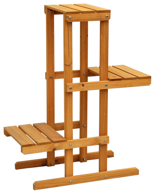 Cyress wood 3 tier plant stand contemporary outdoor pots and planters by - Tiered wooden plant stands outdoor ...