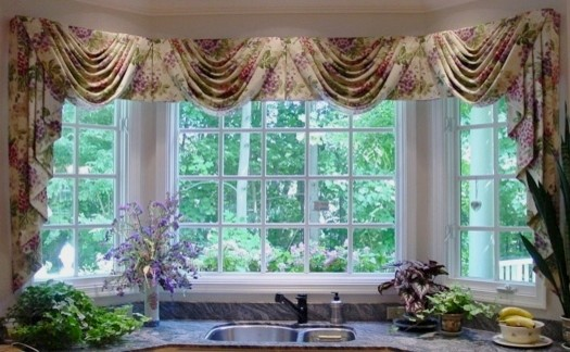 Kitchen Bay Window Swag Jabots Transitional Curtains Dc Metro By Golden Interiors