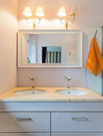 Bathroom mirror with white frame - Contemporary - Bathroom Mirrors - austin - by MirrorLot