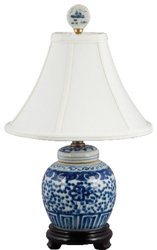 Small Blue and white lamp asian-table-lamps