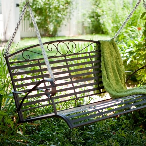 Coral Coast Lazy Sunday 4-ft. Wrought Iron Porch Swing contemporary-kids-playsets-and-swing-sets