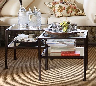 Tanner Occasional Cube Coffee Table With Glass Top Set Of 2 Traditional Coffee Table Sets