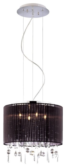 """Art Deco Crystal and Chrome 15 3/4"""" Wide Pendant Chandelier contemporary-chandeliers"""