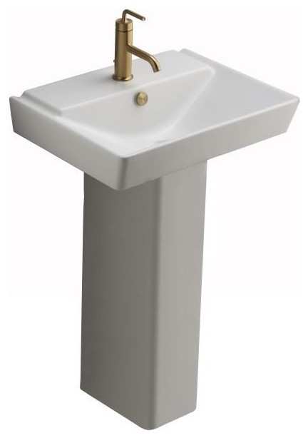 Kohler K 5152 1 0 Reve 23 Lavatory Basin And Pedestal In White Traditional Bathroom Sinks