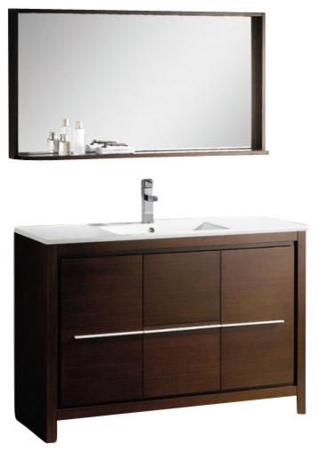 Fresca FVN8148WG Allier 48 Inches Wenge Brown Modern Bathroom Vanity With Mirror modern-bathroom-vanities-and-sink-consoles
