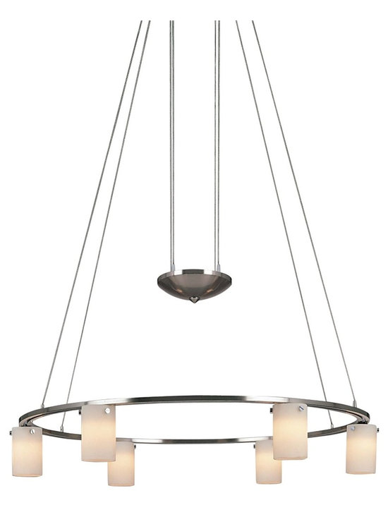"George Kovacs - George Kovacs Six Light Opal Etched Glass Chandelier - This stylish chandelier is anything but ordinary. Features a brushed nickel finish on two round tiers with six cased opal etched glass lights. Includes six 20W G4 Xenon bulbs. 25"" in diameter. Adjusts from 41"" to 76"" high.  Brushed nickel finish.  Cased opal etched glass.   Design by George Kovacs.  Includes six 20 watt halogen bulbs.   Adjusts from 41"" to 76"" high.  25"" in diameter."