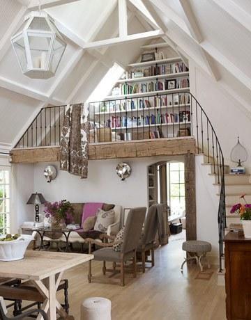 white lofted living room