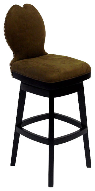 Armen Living Ava 30 Inch Brown Fabric Swivel Barstool