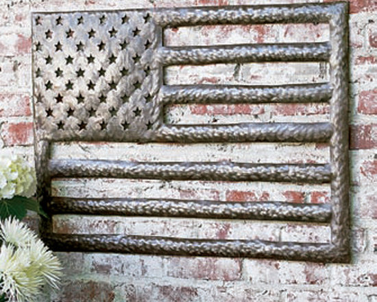 Primitive American Flag - Created from recycled steel, our impressive Primitive American Flag is the perfect patriotic wall decoration to lend folk art flair to your indoor or outdoor living spaces. Rustic hammered finish lends an artistic design motif. Available in large or small sizes.
