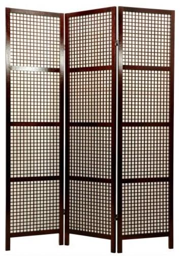 6 Ft Tall Solid Frame Fabric Room Divider 4 Panels: Oriental Furniture Miyagi Shoji Screen Room Divider
