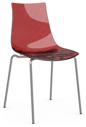 ICE Chair, Chrome Frame, Transparent Red, Set of 2 modern-dining-chairs