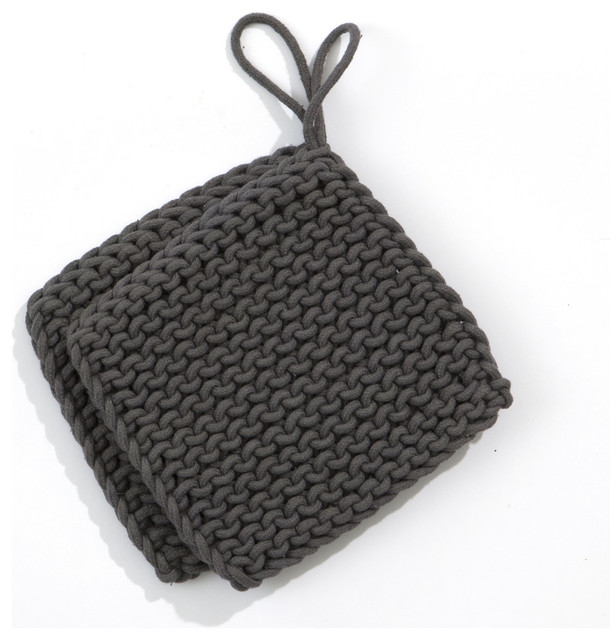 Knitted Pot Holders (pair) - Charcoal modern-oven-mitts-and-pot-holders