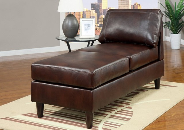 Poundex furniture mahogany bonded leather chaise f7416 for Bonded leather chaise