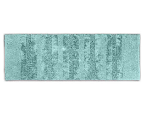 "Sands Rug - Westport Stripe Sea Glass Washable Runner Bath Rug (1'10"" x 5') - Classic and comfortable, the Westport Stripe bath collection adds instant luxury to your bathroom, shower room or spa. Machine-washable, always plush nylon holds up to wear, while the non-skid latex makes sure rugs stay in place."