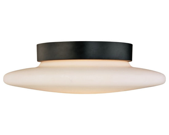 """Sonneman - Sonneman Saturn 14"""" Surface Ceiling Light Fixture - Closer to the ceiling this contemporary lighting approach is stunning in black and white. Design by Sonneman. Satin black finish. White opal frosted glass. Takes two 60 watt medium base bulbs (not included). 4 1/2"""" high. 14"""" diameter. Shade is 2 1/2"""" high. 14"""" diameter. Canopy has 8"""" diameter.  Satin black finish.  White opal frosted glass.  Takes two 60 watt medium base bulbs (not included).  14"""" diameter.  4 1/2"""" high.  Canopy has 8"""" diameter."""