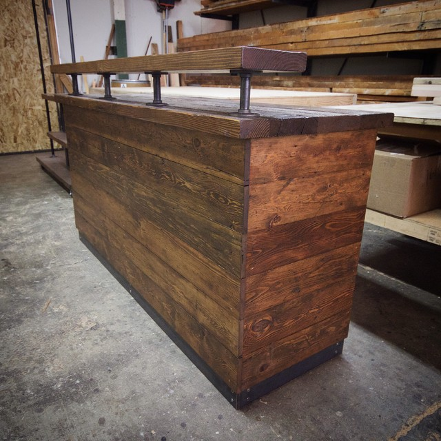 Custom Reclaimed Checkout Counter Rustic Storage Units And Cabinets