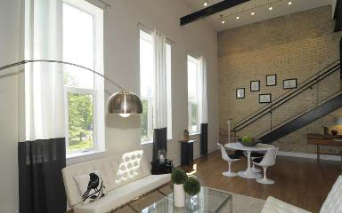 Firehouse Lofts contemporary-living-room