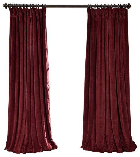 Signature Burgundy Doublewide Blackout Velvet Curtain Traditional Curtains By Half Price