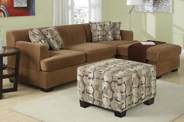 Modern Small Tan Velvet Sectional Sofa Set Reversible Chaise Living modern sectional sofas los angeles