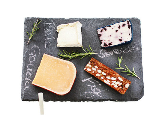 """SPARQ - Slate Cheese Board (10""""x14"""") - Serve your favorite cheeses or hors d'oeuvres with this rustic slate cheeseboard. The dark grey color provides a backdrop for identifying what you're serving. Made and designed in the US, each board comes with soapstone chalk that easily washes off."""