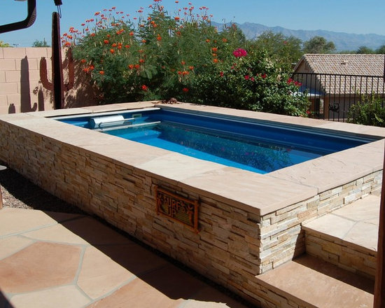 Endless Pools - Original Endless Pools® - Stone coping and siding are perfect additions for this Southwestern Endless Pool installation.  Customize your Endless Pool to be as personal as you are.