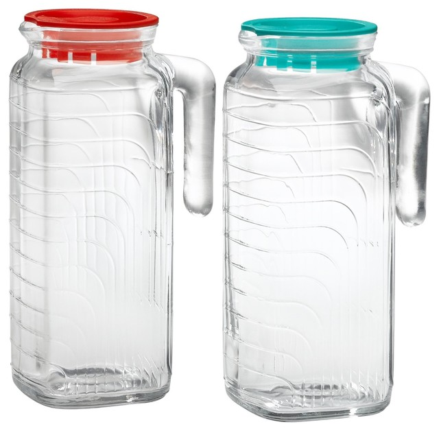 Bormioli Rocco Gelo 2-Piece Glass Pitcher Set with Lids, Red and Green contemporary food containers and storage