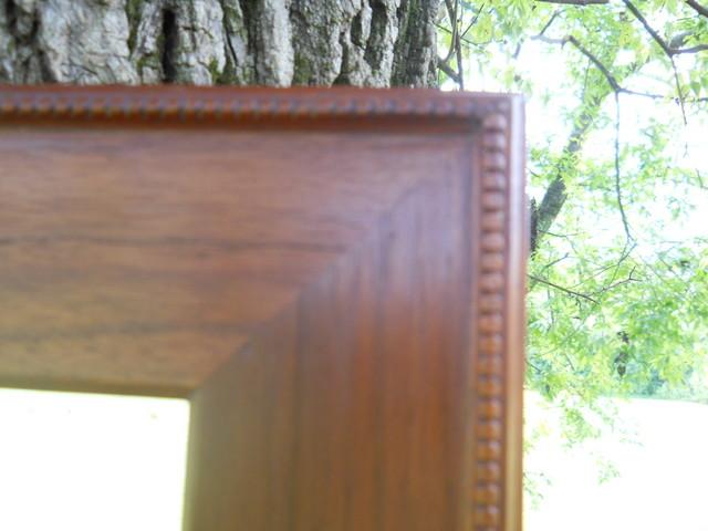 Solid Walnut w/ Beaded Mahogony Trim Beveled Mirror traditional-home-decor