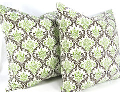 Chocolate Brown Mint Green Decorative Throw Pillow Covers by Delicious Pillows contemporary-decorative-pillows