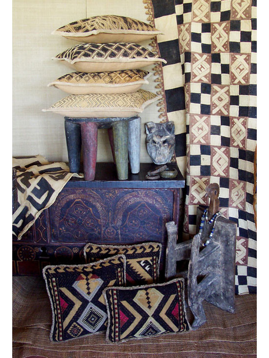 Custom & Ready Made Pillows ~ African and Tribal Pillows - High-end Custom and Ready made pillows available on-line. The Ethnic Decorative Kuba Cloth Pillows are Backed in a Camel Colored, Hand Dyed and Woven Cotton, Maintaining the Hand Crafted Nature of the Textile. Paired with Tribal Textile Pillows.  Couture Custom Workroom Services Available. Artisanaworks