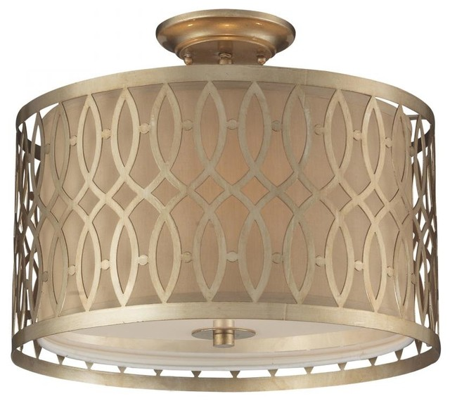three light aged silver drum shade semi flush mount. Black Bedroom Furniture Sets. Home Design Ideas