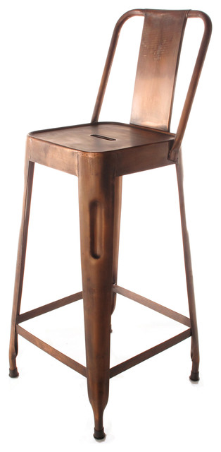 Ironworks Industrial Loft Aged Copper Counter Stool with Back modern-bar-stools-and-counter-stools