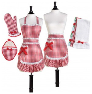 Red & White Gingham Convertible Apron Set traditional aprons