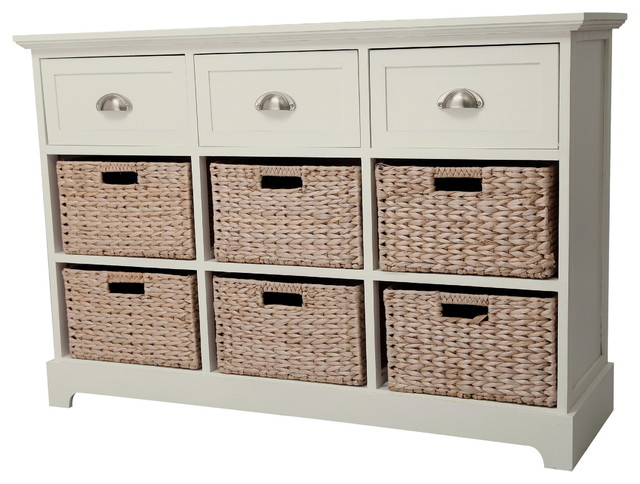 Gallerie Decor Newport 3 drawer 6 basket Table