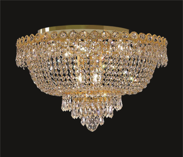 gold plated crystal flush mount basket chandelier