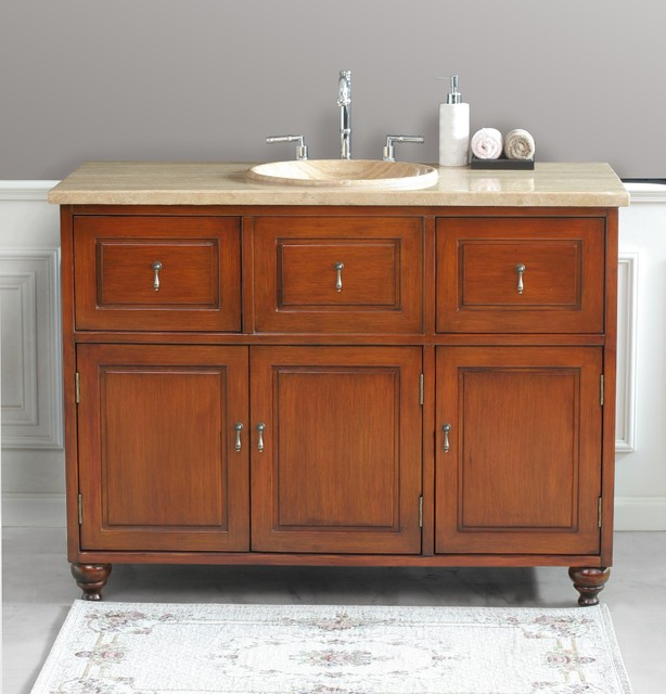 "Virtu USA 48"" Limburg - Antique Oak - Travertine Single Sink"