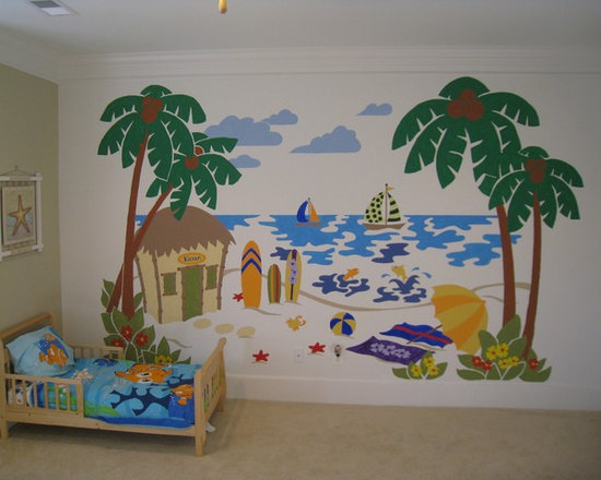 """Tropical Kids Paradise - Create the perfect beach scene in any room with this easy Paint-by-Number wall mural. Just TAPE, TRACE & PAINT. This mural measures 10' wide by 6' tall, but you can REUSE it, REVERSE it, and even REPEAT it - in whole or in part. This way you can """"extend"""" your mural all around the room - an extra palm tree here, a starfish there etc. You can even change the colors for a perfect match."""