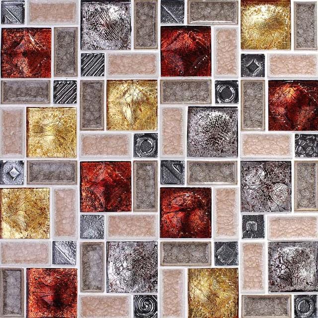 Porcelain Tile Wall Backsplash Crystal Glass Crack Pattern