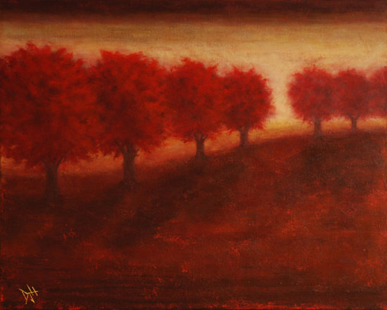"Autumn Glow by Debra Houston - Pacific Northwest artist Debra Houston paints letting imagination, memory and intuition guide her hand across the canvas. Her evocative landscapes and street scenes are straight from the heart and soul. Her work takes the viewer to that rainy street corner or to the sun-drenched slopes that uncannily seems so familiar. Houston has the ability to capture her audience's interest with what can only be described as déjà vu. She paints images that trigger memories or feelings of having been there, but Houston's paintings are rarely of real places, they're more about moods or moments that she captures. She engages her audience's imagination with her imagination. Houston has been interested in art her entire life, something she may have inherited from her grandmother, who worked in traditional style land and seascapes. She dabbled in a variety of mediums before she found and fell in love with oil painting - later also adopting acrylics. Debra recalls spending countless hours pouring over art education books and studying the masters at her kitchen table. ""I remembering taking a painting from one of those books and trying to figure out – how did they get that effect… I'd practice it five or five hundred times until I understood it.""  Once she began painting full time, she noticed how much different the world looked to her--how light striking an ordinary item can help it to become extraordinary. While still devoted to perfecting her own style, Houston's esteem for early impressionist artists can be seen in her work. Her bold strokes and light-filled depiction of the world as she sees it giving her works a unique, fresh quality. Painting is a kind of escape for Debra; it's also an offering of escape for the viewer – a kind of refuge, or place to reflect. She describes having two to four pieces in process at the same time, ""I walk into my studio I'm not always sure what's in store for me. I look for what will move me on that particular day."" It's the stirring of emotion that Debra finds interesting about art; ""to make someone feel something without saying a word, without knowing them or them knowing you."" While painting, Houston listens to a variety of music which helps to elevate the moods she tries to construct in her work. Capturing light and reflection has become an inadvertent part of Debra's expression, with the dramatization of the highs and lows as a kind of metaphor for finding peace in the ups and downs of daily life - and a kind of sharing of her own intimate reflection. Her works currently hang in private and corporate collections throughout the Northwest."
