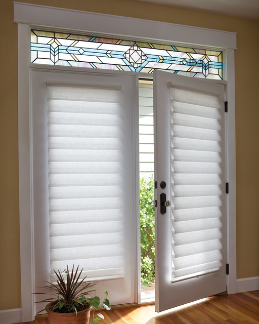 French Door Blinds & Shades: Vignette® Roman Shades on a French Door - Traditional - Roman ...