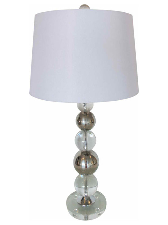 Chrome and Crystal Stacked Lamp - Alternating spheres of chrome and crystal stacked 5 high. Lucite base and nickel hardware. Matching harp and finial, no shade included.