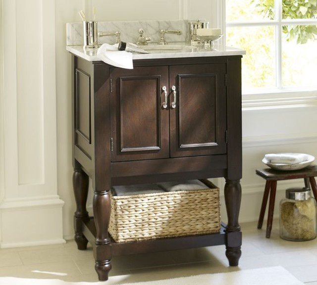 Newport Single Mini Sink Console, Espresso Finish - traditional