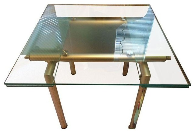 Used Modern Glass Brass Dining Table Contemporary