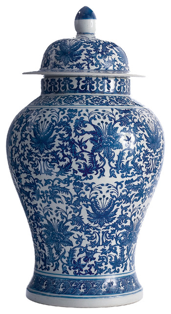 Asian Lotus Covered Blue White Hand Painted Temple Jar - A transitional-vases