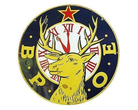 """Pre-owned Large 30"""" Enameled Porcelain Elks Club Sign - A Mid-Century large 30"""" diameter enameled porcelain sign for Elks Lodge. The sign has vibrant colors and wonderful graphics. It has some scuffs and wear."""