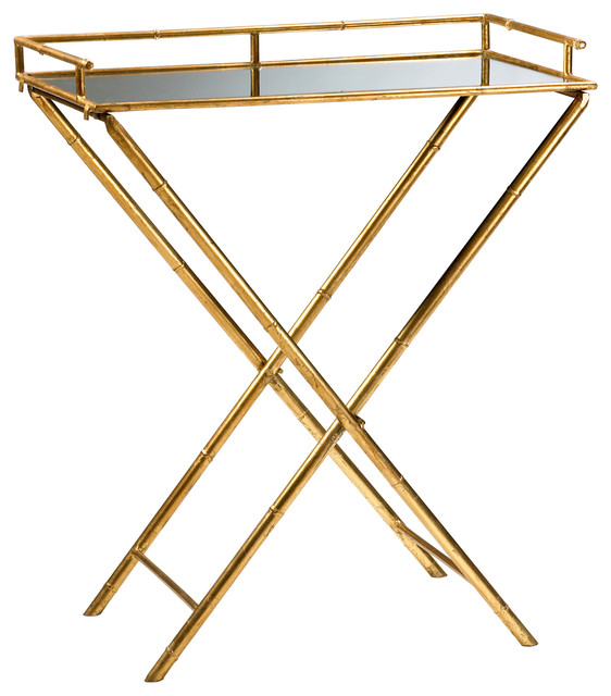 Hollywood Regency Gold Leaf Bamboo Mirrored Tray Table